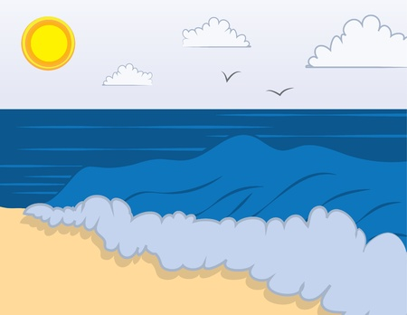 Beach scene with waves on the shore  Illustration