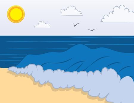 sun tan: Escena de la playa con las olas en la orilla Vectores