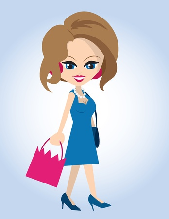 Cartoon woman walking with shopping bag  Stock Vector - 12472549