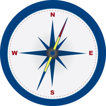 Red and blue compass with north, east, south and west symbols.  Vector