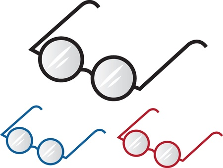 glass reflection: Three different colored glasses frames  Illustration