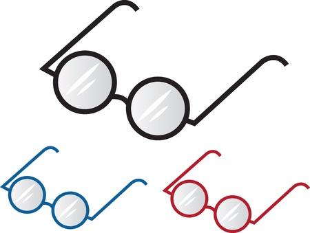 spec: Three different colored glasses frames  Illustration