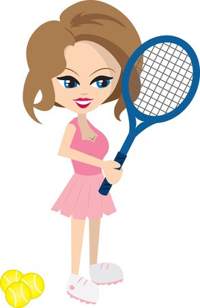 sports equipment: Isolated cartoon woman playing tennis