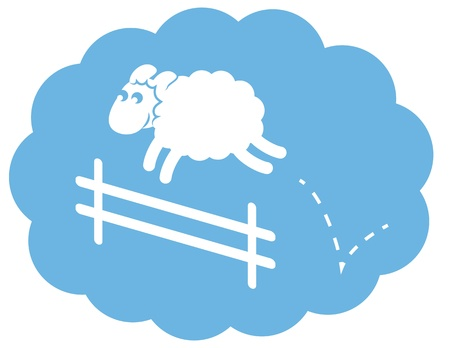sheep cartoon: Sheep jumping over a fence in a cloudsleep bubble.  Illustration