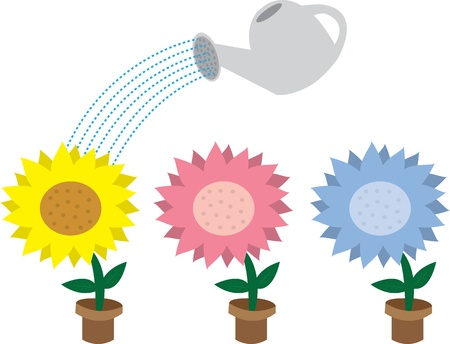 Cartoon potted flowers and watering can  Vector