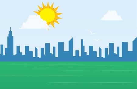 Daytime city skyline with large sun above a grassy field