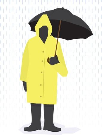 Homme debout dans un imperméable, des bottes et parapluie tenant sous la pluie. Vecteurs