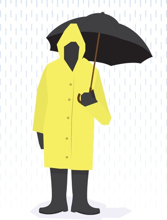 rain drop: Man standing in raincoat, boots and holding umbrella in the rain.  Illustration