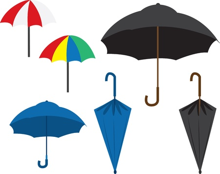 Various colored umbrellas.  opened and closed.