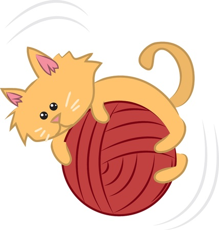 Cartoon kitty cat playing with a ball of yarn  Illustration