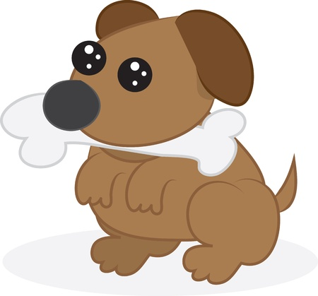 begging: Cartoon dog or puppy with bone in mouth