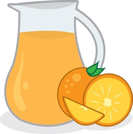 squeezed: Pitcher of orange juice with oranges  Illustration