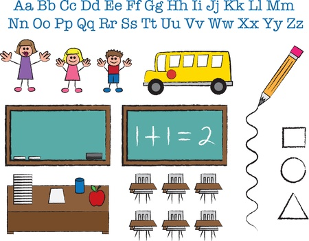School object and stick figure sketches  Vector