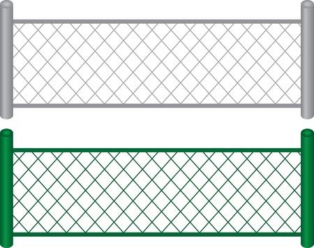 chainlinked: Geïsoleerde trackrecord gekoppeld hekken metaal en groen geschilderd Stock Illustratie