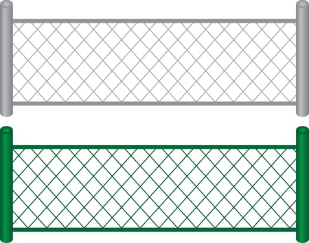 Isolated chain linked fences metal and painted green  Vector