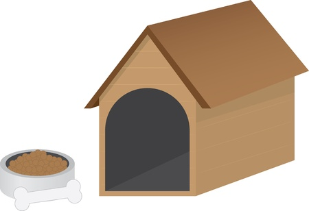 dog pen: Isolated doghouse and dog bowl with bone