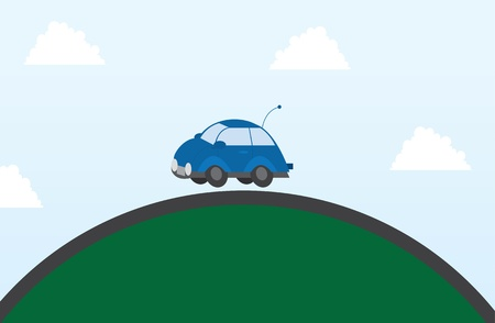 Blue car driving on the top of a hill  Vector
