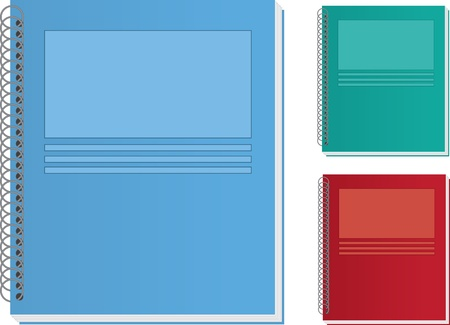 Isolated notebooks.  Green, blue and red.