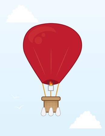 Hot air balloon flying in the sky  Vector