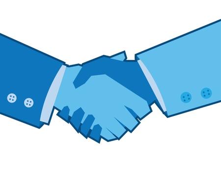 mani che si stringono: Due mani di colore blu si stringono Vettoriali