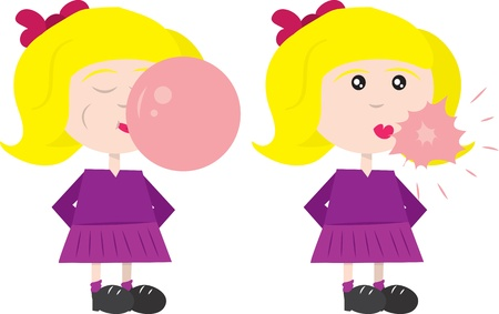 Girl blowing a bubble of gum, which then pops   Illustration