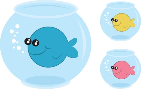 fish tank: Fish bowls with different colored fish