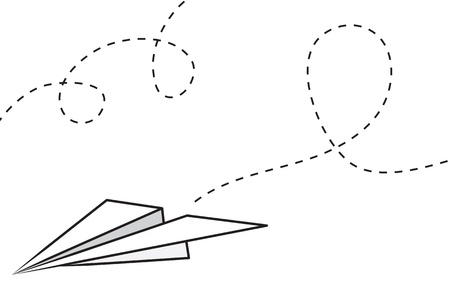 Isolated paper airplane with flying trail