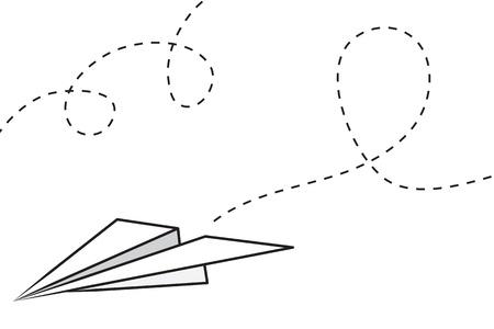 papier pli�: Avion en papier isol�e avec chemin de vol