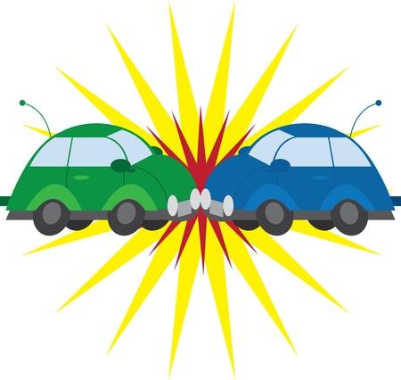 2 台の車が爆発でクラッシュします。  イラスト・ベクター素材