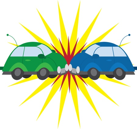 Two cars crashing with explosion  Stock Vector - 12855397