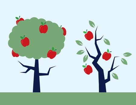 Apple trees.  One full of leaves, and one almost bare.  Illustration