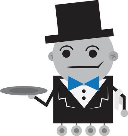 Isolated robot butler holding an empty tray  Vector