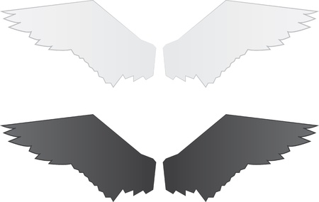 Isolated wings. White grey wings, and Black grey wings.  Vector
