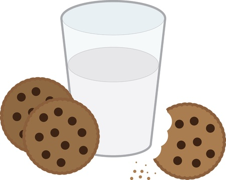 Chocolate chip cookies and glass of milk Stock Vector - 12959376