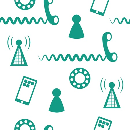 Seamless pattern of phone icons and symbols green  Stock Vector - 13054044