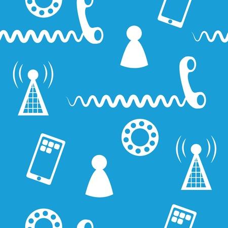 전화 아이콘 및 기호 파란색 배경의 원활한 패턴