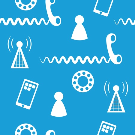 Seamless pattern of phone icons and symbols blue background  Ilustração