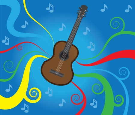 Music graphics flowing behind a guitar  Vector