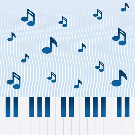 피아노 건반 위로 흐르는 음악 일러스트