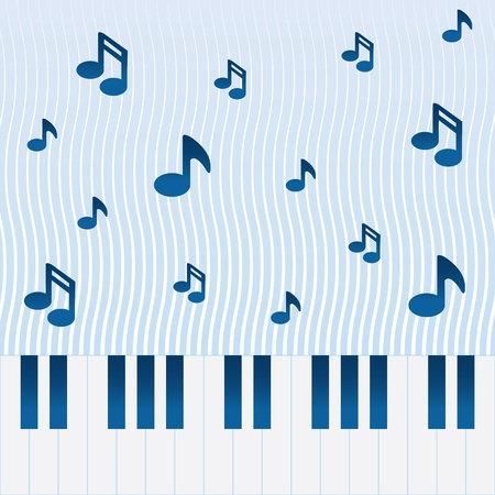 Music flowing above piano keys  Stock Vector - 13070414