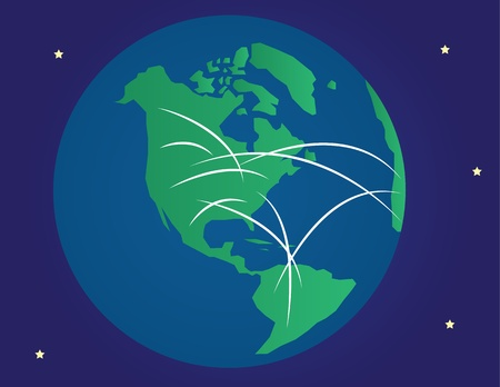 Globe showing different connections throughout the world