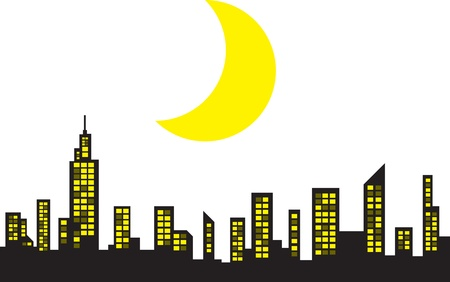 City Skyline with large crescent moon