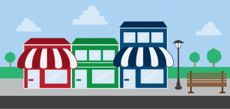 local business: Store front strip mall stores  Illustration
