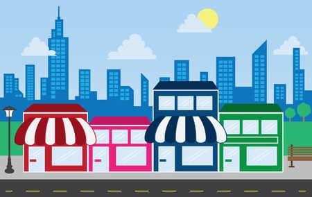 small: Store front strip mall stores with city skyline in the background  Illustration
