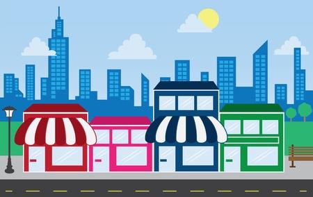 store window: Store voor strookwandelgalerij winkels met een skyline van de stad op de achtergrond