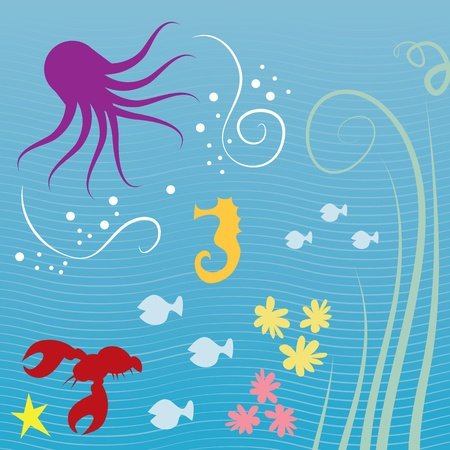sea creatures: Various sea creatures underwater with lined background  Illustration