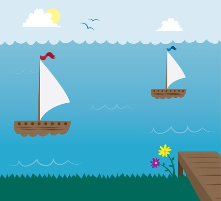 Sail boats in the ocean with deck in foreground  Vector