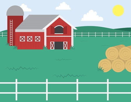 red barn: Cartoon farm with barn and white fence