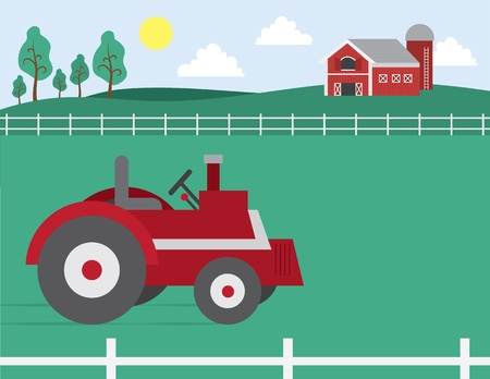 grass field: Cartoon farm with barn and tractor in field  Illustration