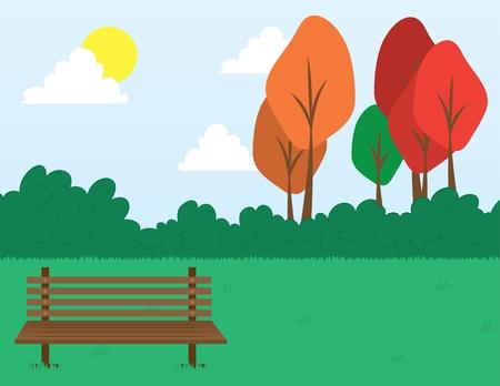 탁상: 잔디에있는 벤치와 공원 현장